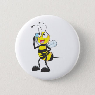 Bee Talking on Phone - Calling Someone 2 Inch Round Button