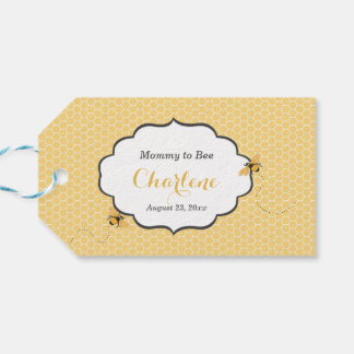 Bee Theme Honeycomb Gold & Gray Pack Of Gift Tags