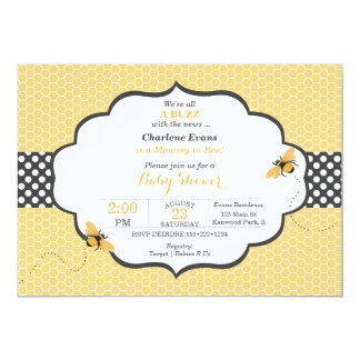 Bee Theme Honeycomb Gold & Gray Polka Dot Card