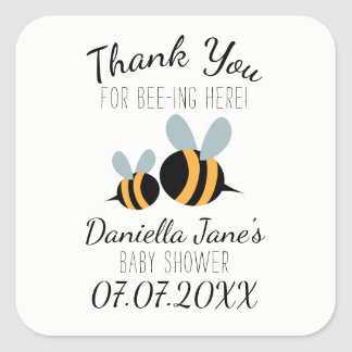 Bee themed Baby Shower Stickers