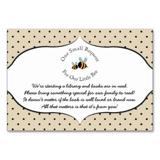 Bee themed - Book Request Baby Shower Card