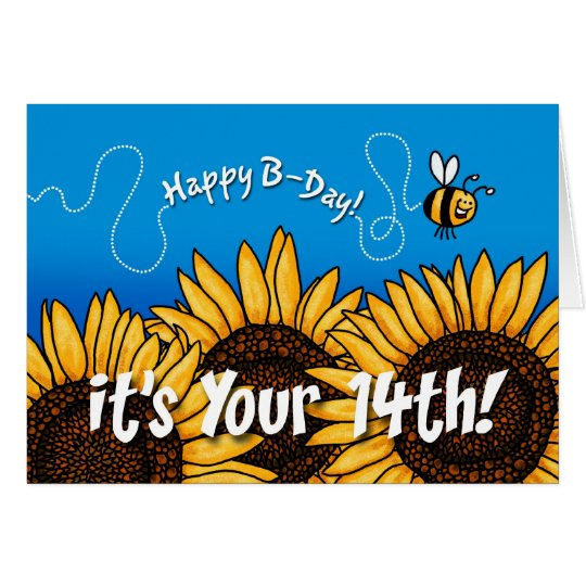 bee trail sunflower - 14 years old card