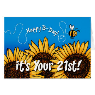 bee trail sunflower - 21 years old card