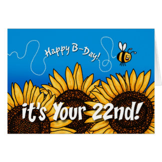 bee trail sunflower - 22 years old card