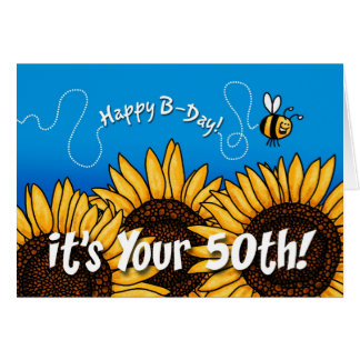 bee trail sunflower - 50 years old greeting card