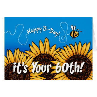 bee trail sunflower - 60 years old card