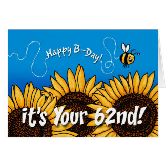 bee trail sunflower - 62 years old card