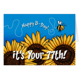 bee trail sunflower - 77 years old card