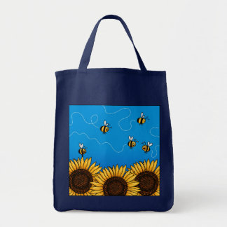 bee trail sunflower grocery bag