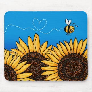 bee trail sunflower mousepad