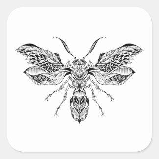 Bee-Wasp Tattoo Square Sticker