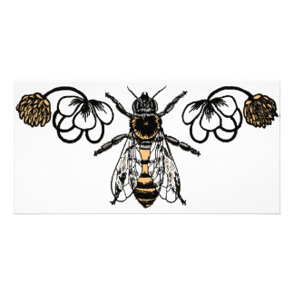 bee with clover custom photo card