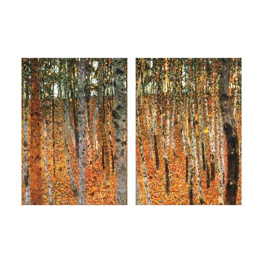 Beech Forest by Gustav Klimt Fine Art Double Panel Gallery Wrapped Canvas