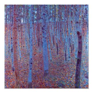 "Beech Forest by Gustav Klimt, Vintage Art Nouveau 5.25"" Square Invitation Card"