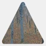 Beech Grove I by Gustav Klimt Triangle Sticker