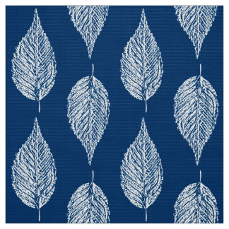 Beech Leaf Chalk Print, Cobalt Blue and White Fabric
