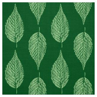 Beech Leaf Chalk Print, Deep Emerald Green Fabric