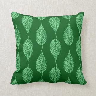 Beech Leaf Chalk Print, Deep Emerald Green Throw Pillow