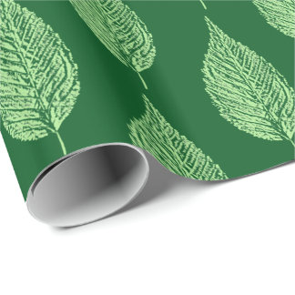 Beech Leaf Chalk Print, Deep Emerald Green Wrapping Paper