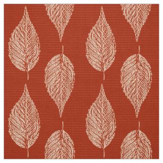 Beech Leaf Chalk Print, Mandarin Orange Fabric