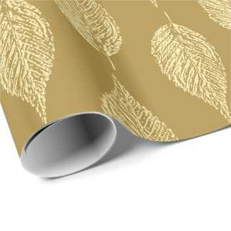Beech Leaf Chalk Print, Mustard Yellow / Gold Wrapping Paper