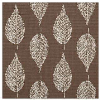 Beech Leaf Chalk Print, Taupe Tan and Cream Fabric