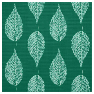 Beech Leaf Chalk Print, Turquoise and Aqua Fabric