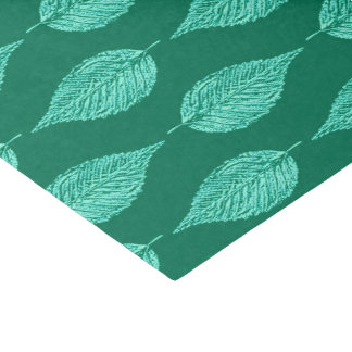 Beech Leaf Chalk Print, Turquoise and Aqua Tissue Paper