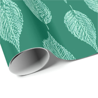 Beech Leaf Chalk Print, Turquoise and Aqua Wrapping Paper