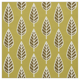 Beech leaf pattern - Camel tan and brown Fabric