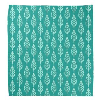 Beech leaf pattern - Peacock and aqua Bandanna