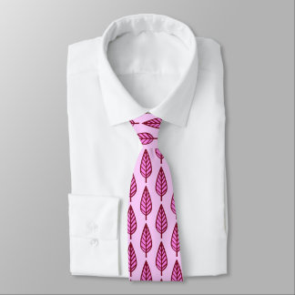 Beech leaf pattern - pink and burgundy tie