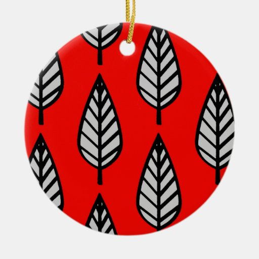 Beech leaf pattern - Red, black and grey / gray Christmas Ornament