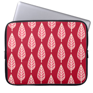 Beech leaf pattern - Ruby red and cream Laptop Computer Sleeves