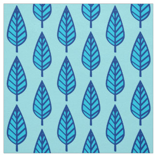 Beech leaf pattern - Shades of sky blue Fabric