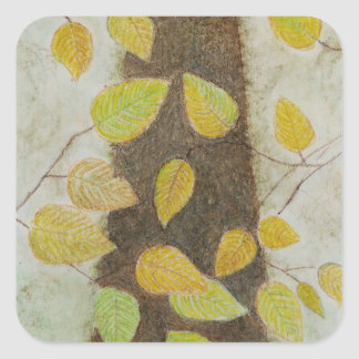 Beech Leaves Square Sticker