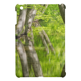 Beech tree trunks with water in spring forest iPad mini case