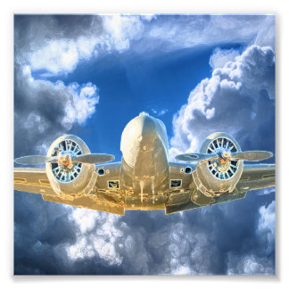 Beechcraft Model 18 Flying High Design Photographic Print