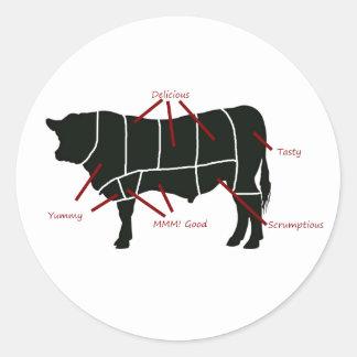 Beef Butcher Chart - Tasty Delicious Yummy Beef! Round Sticker