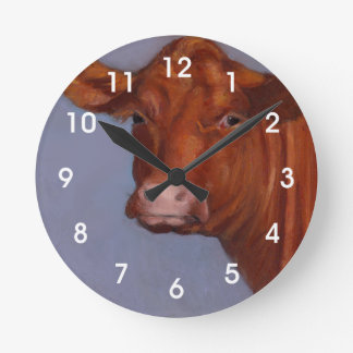Beef Cow, Oil Pastel Painting, Red Cow Round Clock