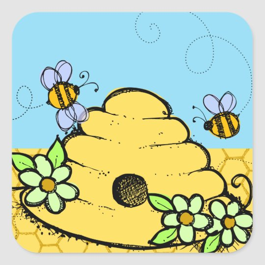 Beehive and Bees Sticker