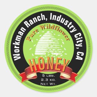 Beehive and Custom Round Text Honey Jar Round Sticker