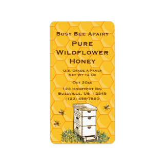 Beehive and Honeycomb Personalized Apiary Style 2 Label