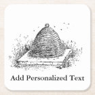 Beehive Black and White Vintage Drawing Square Paper Coaster