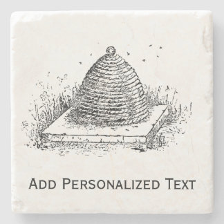 Beehive Black and White Vintage Drawing Stone Coaster