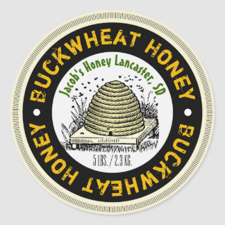 Beehive Buckwheat Honey Customized Honey Jar Label Round Sticker