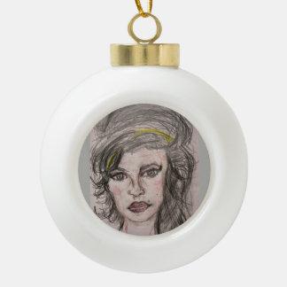 Beehive Girl Ceramic Ball Christmas Ornament