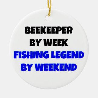 Beekeeper by Week Fishing Legend by Weekend Ceramic Ornament