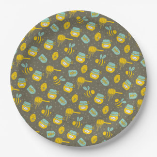 Beekeeper Honey Dipper Pattern Paper Plate