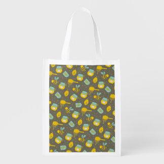 Beekeeper Honey Dipper Pattern Reusable Grocery Bag